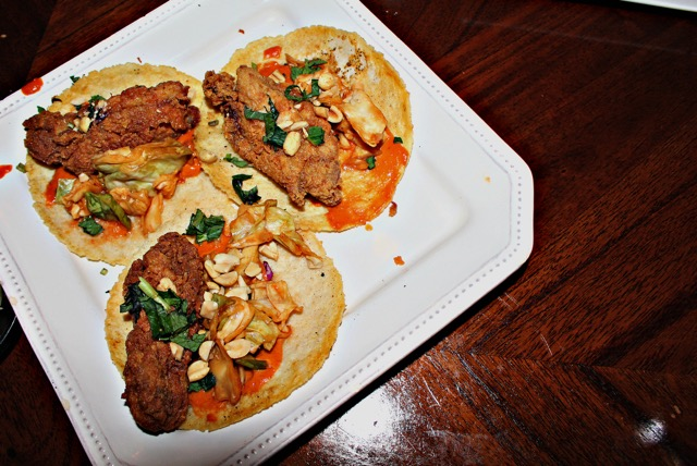 Spicy Chicken Tacos with peanut sauce