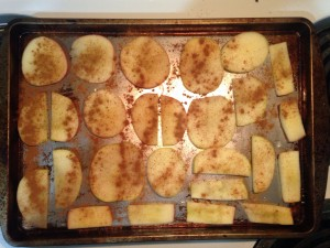 apple chips going into the oven
